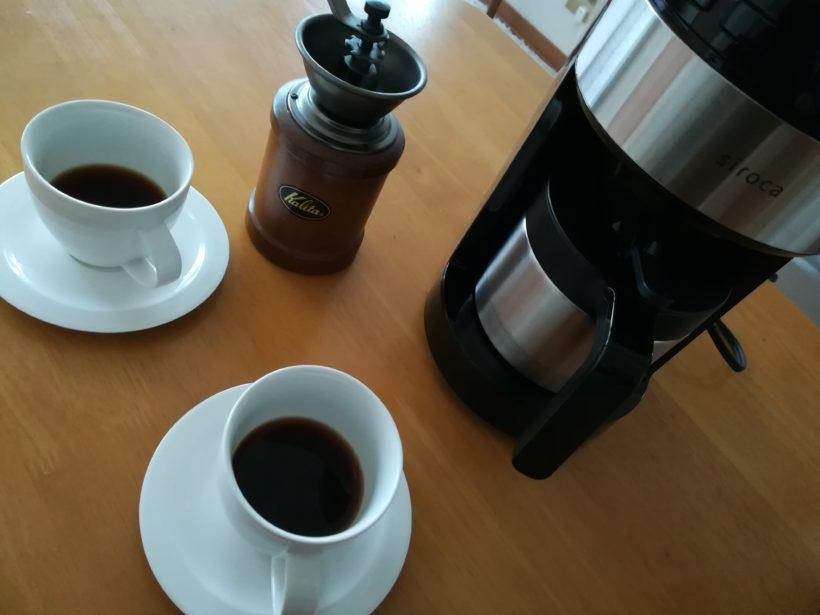 手挽きミルとコーヒーメーカーSC-C122で飲み比べ