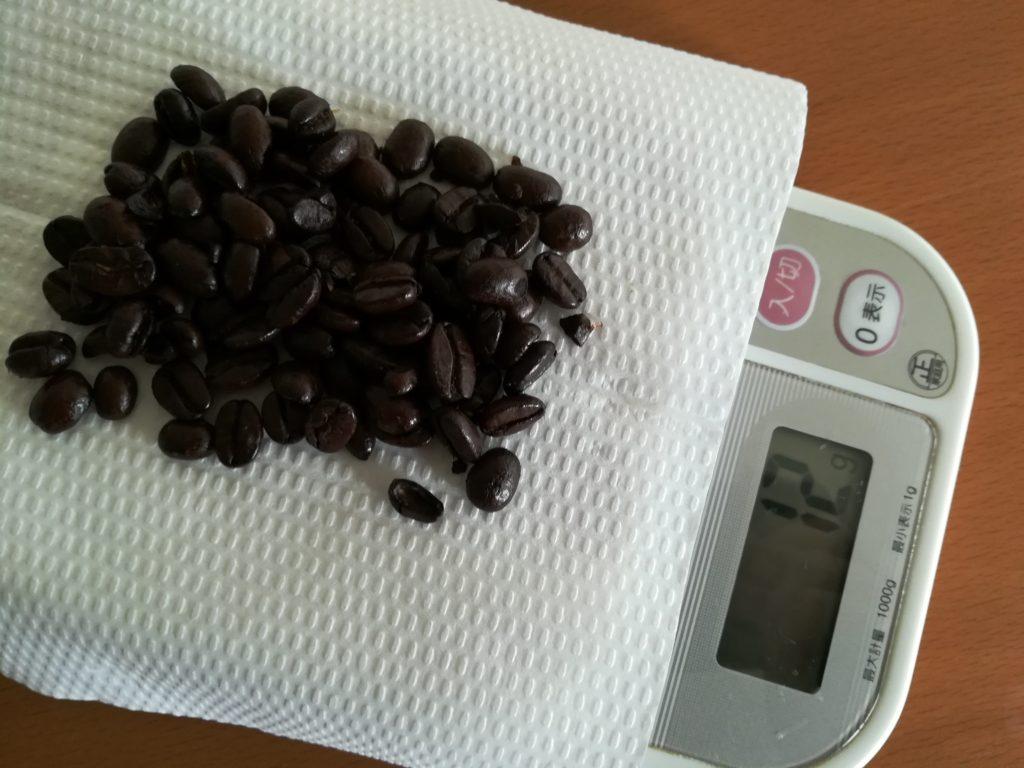 ちゃんと1杯分のコーヒー豆12グラムにしてみる