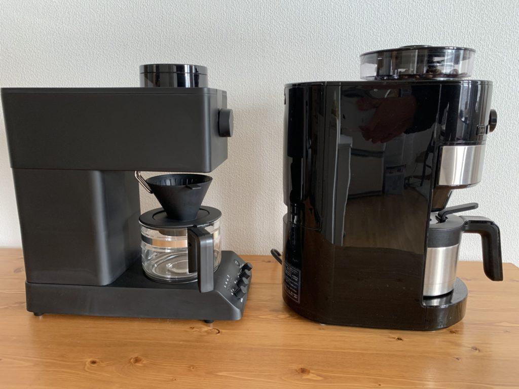 全自動コーヒーメーカー ツインバードCM-D457とシロカSC-C122を横から比較