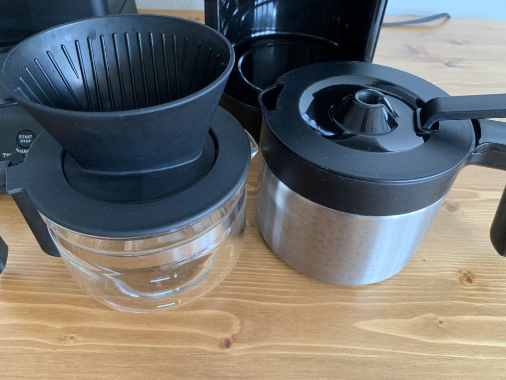 コーヒーサーバー比較。左がツインバード、右がシロカ