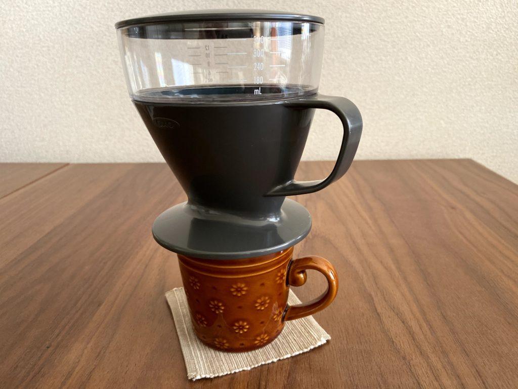 OXOオートドリップコーヒーメーカーをマグカップに実際に乗せてみた