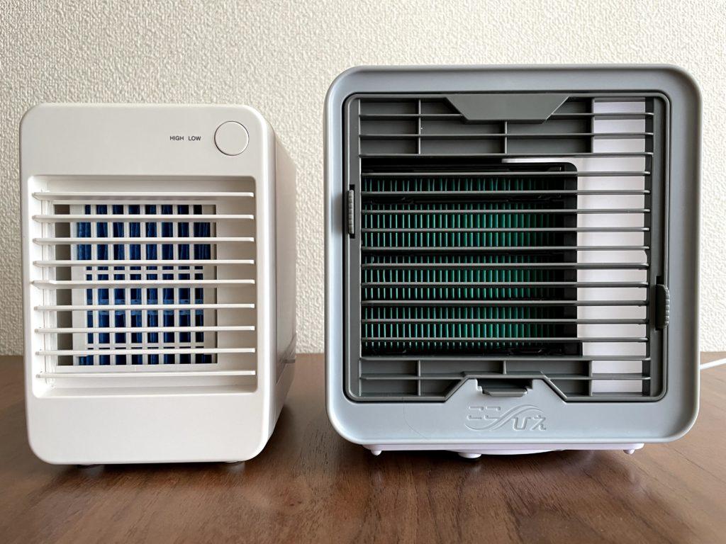 ここひえR3(右)と無印良品USB冷風扇MJ-WCF1(左)の正面を比較