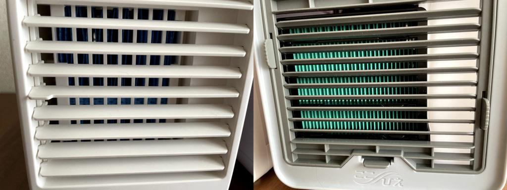 無印良品USB冷風扇MJ-WCF1(左)ここひえR3(右)のルーバーを比較