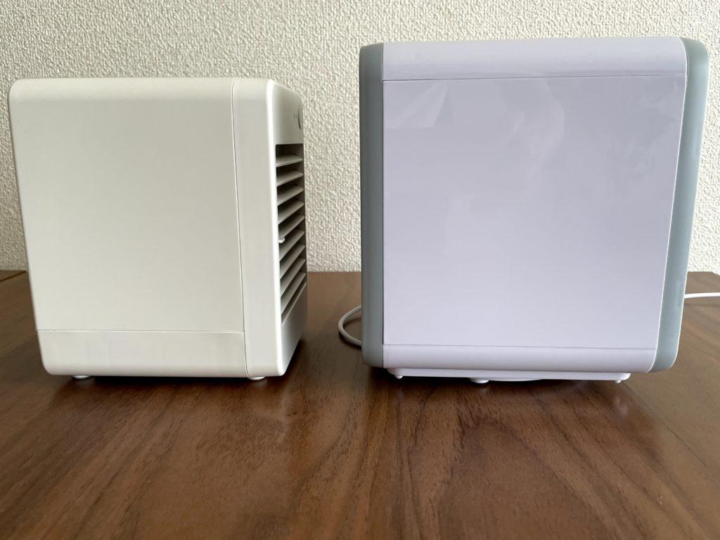 無印良品USB冷風扇MJ-WCF1(左)ここひえR3(右)を左から比較