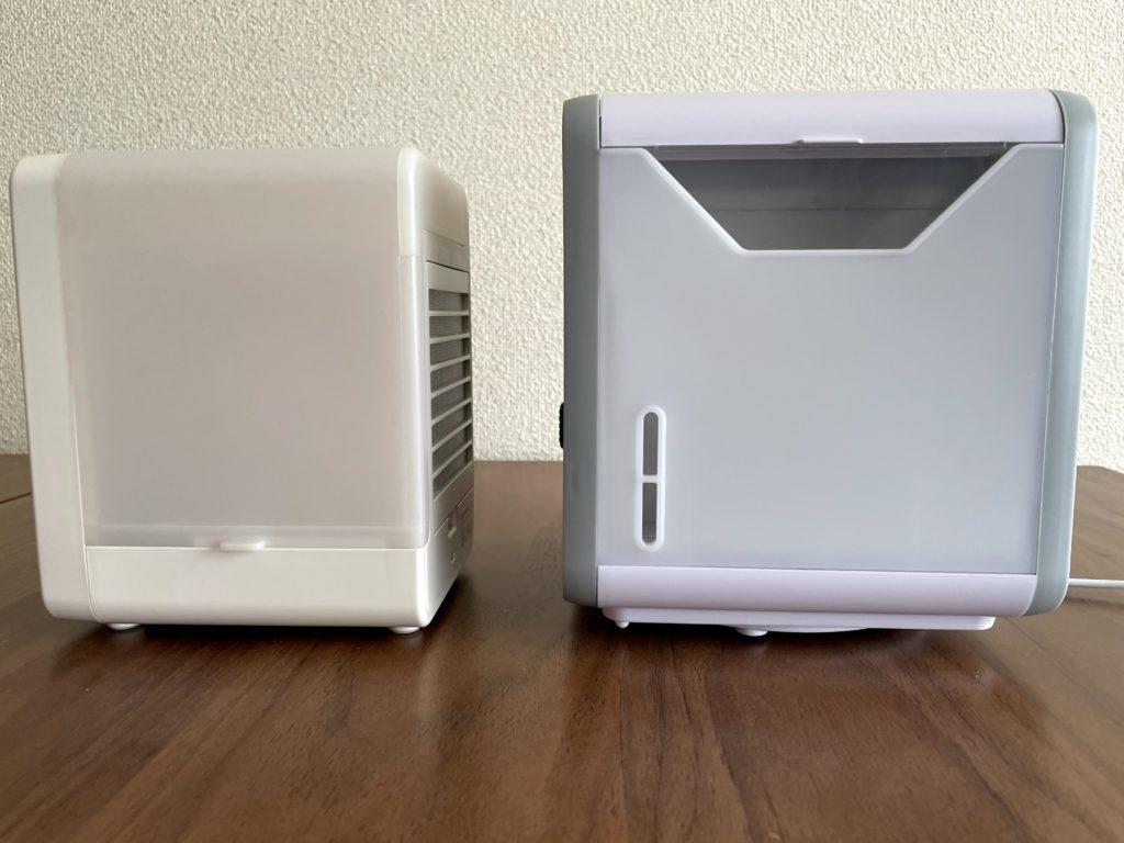 無印良品USB冷風扇MJ-WCF1(左)ここひえR3(右)を右から比較