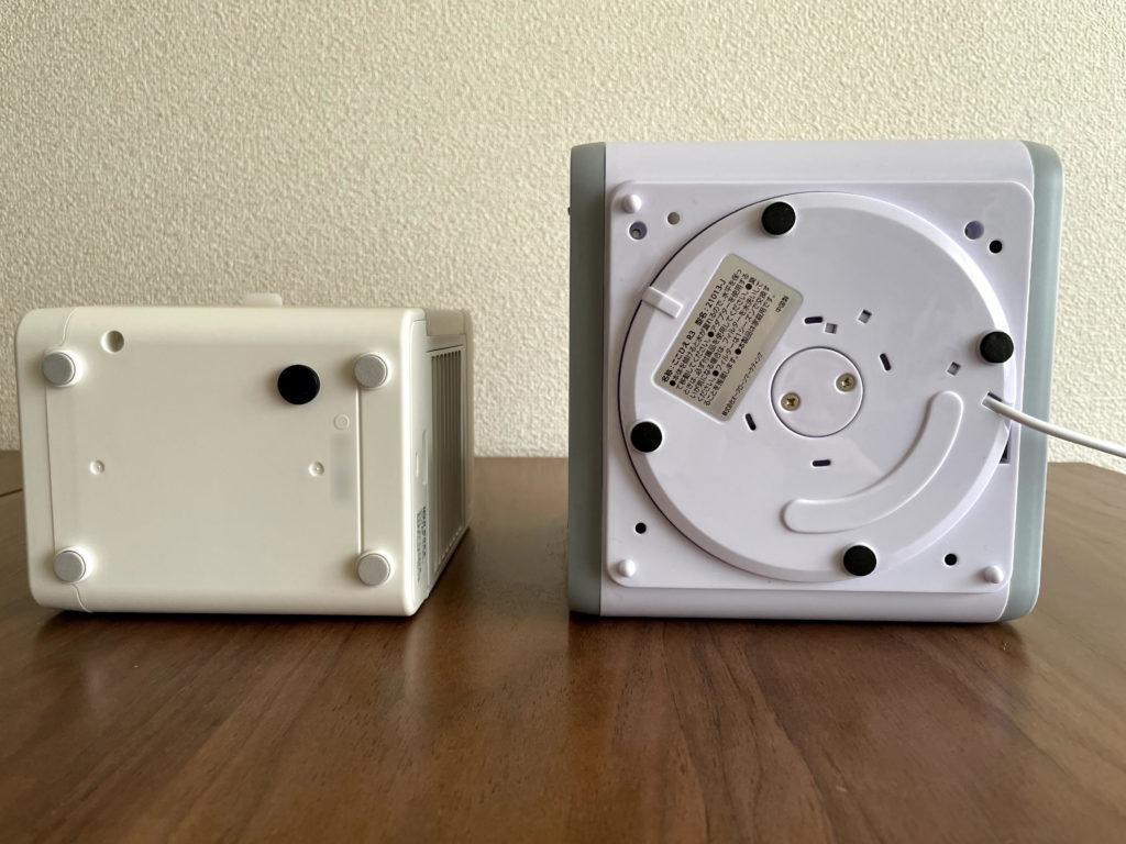 無印良品USB冷風扇MJ-WCF1(左)ここひえR3(右)を裏面から比較