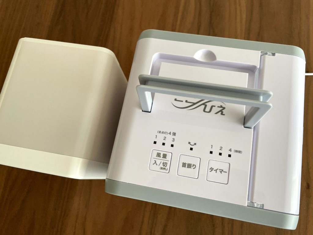 無印良品USB冷風扇MJ-WCF1(左)ここひえR3(右)の取っ手を比較