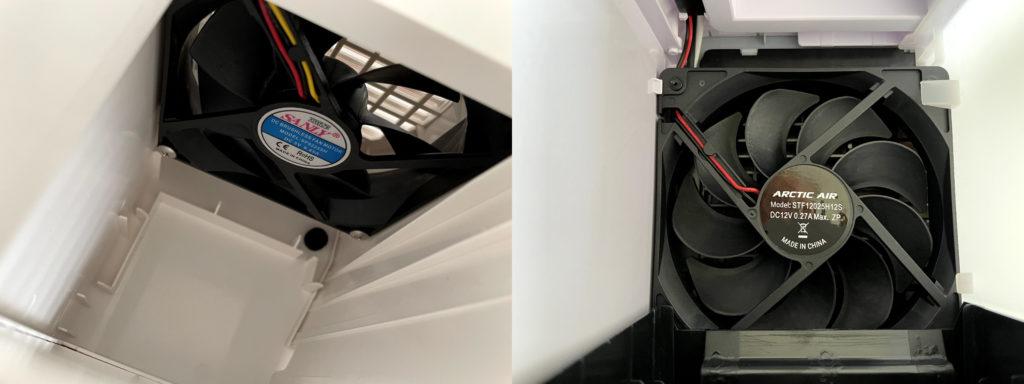 無印良品USB冷風扇MJ-WCF1(左)ここひえR3(右)のファンを比較